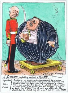 A sphere projecting against a plane – Davey after Mr. Gillray