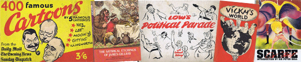 Used Political and Gag Cartoon Books For Sale Image.