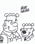 Mort Walker autograph Beetle Bailey and Sarge Image.