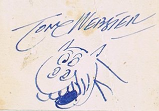 Tom Webster autograph and drawing of Tishy