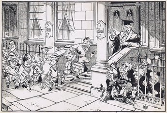 SHOULD NEW BOYS BE INITIATED? [Mr Macmillan's announcement of his new Cabinet and the news that Prince Charles had started school, prompted this cartoon.]