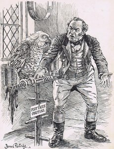 "The ""Premier"" Parrot (emerging from profound thought). ""EX——EX——EX——EX——"" John Bull. ""LOOK HERE, HERBERT, IF YOU'RE GOING TO SAY 'EXCLUSION,' FOR HEAVEN'S SAKE SAY IT AND GET IT OVER!"" [Parrot relapses into profound thought.]"