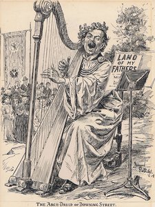 "THE ARCH-DRUID OF DOWNING STREET. Our representative at the Eisteddfod writes: ""Mr. Lloyd George then obliged with 'Land of my Fathers.' The Chancellor of the Exchequer, in his rendition of the famous land song, gave its full site value to every note."""