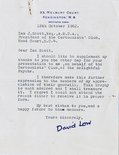 Letter from Sir David Low to Ian Scott Image.