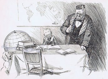 Grandpa (to small Teuton struggling with home lessons): Come Fritz is your task so difficult? Fritz: it is indeed  - I have to learn the names of all the countries that misunderstand the all-highest.