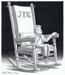 Bill Clinton in JFK's rocking chair Image.