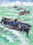 Four oars pulled shoreward, while Billy Bunter leaned over the gunwale. Image.