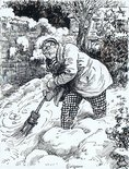 Spots of perspiration came out on his fat brow as he laboured with the broom and the snow. Image.