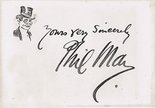 Phil May signature autograph and self caricature Image.