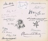 Autographs from liberal politicians, Prime Ministers and drawings by E T Reed and Linley Sambourne. Image.
