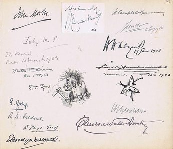 Autographs from liberal politicians, Prime Ministers and drawings by E T Reed and Linley Sambourne.