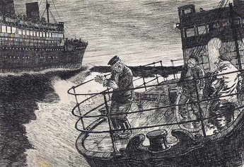 """That's the ship we ought to 'ave him on boys. Even 'er band's playin' 'at jazz."""